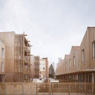 Odile Guzy Architectes covers social housing scheme with wooden slats and diamond patterned roofs
