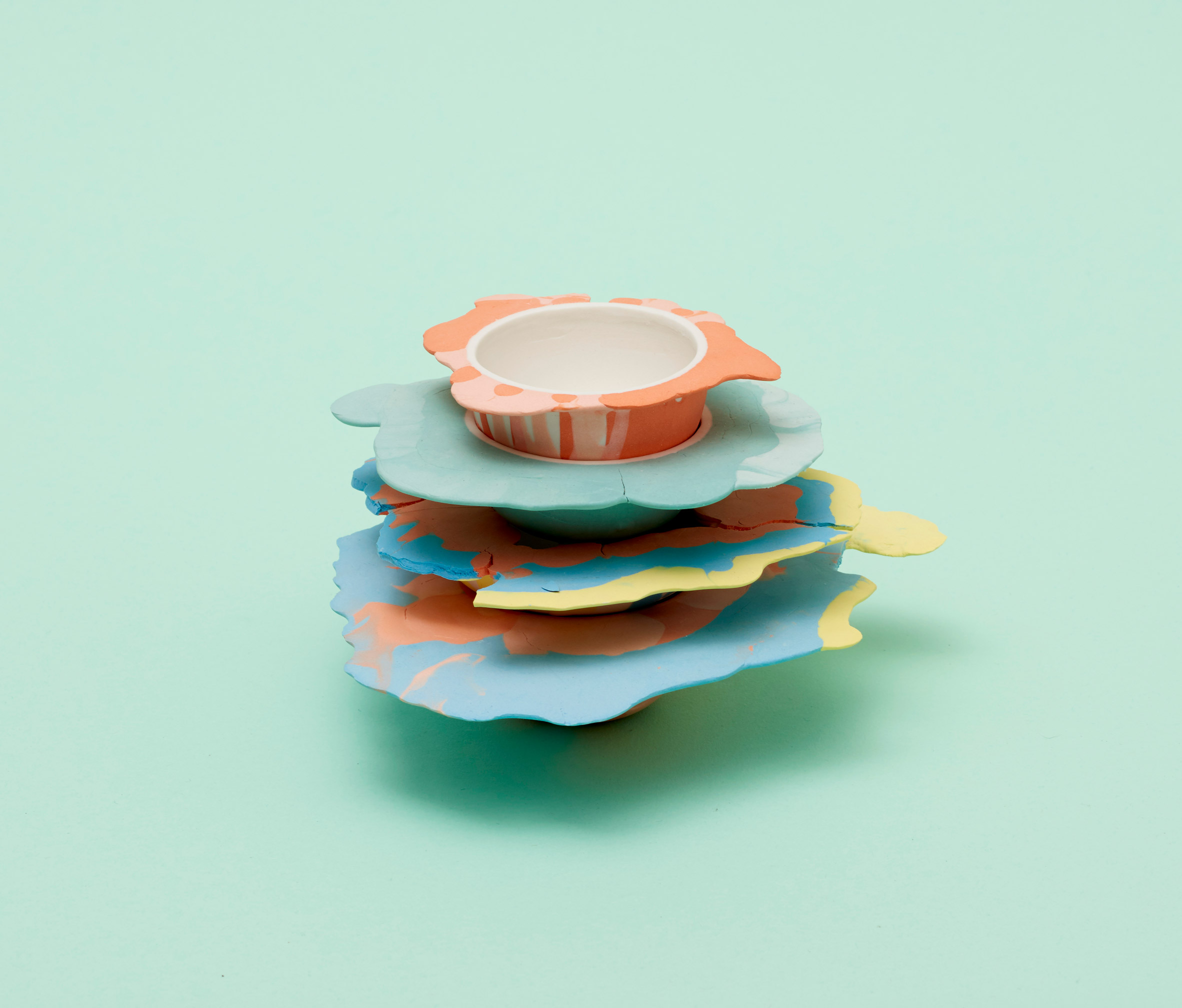 Alissa Volchkova designs porcelain bowls to look like paint blobs