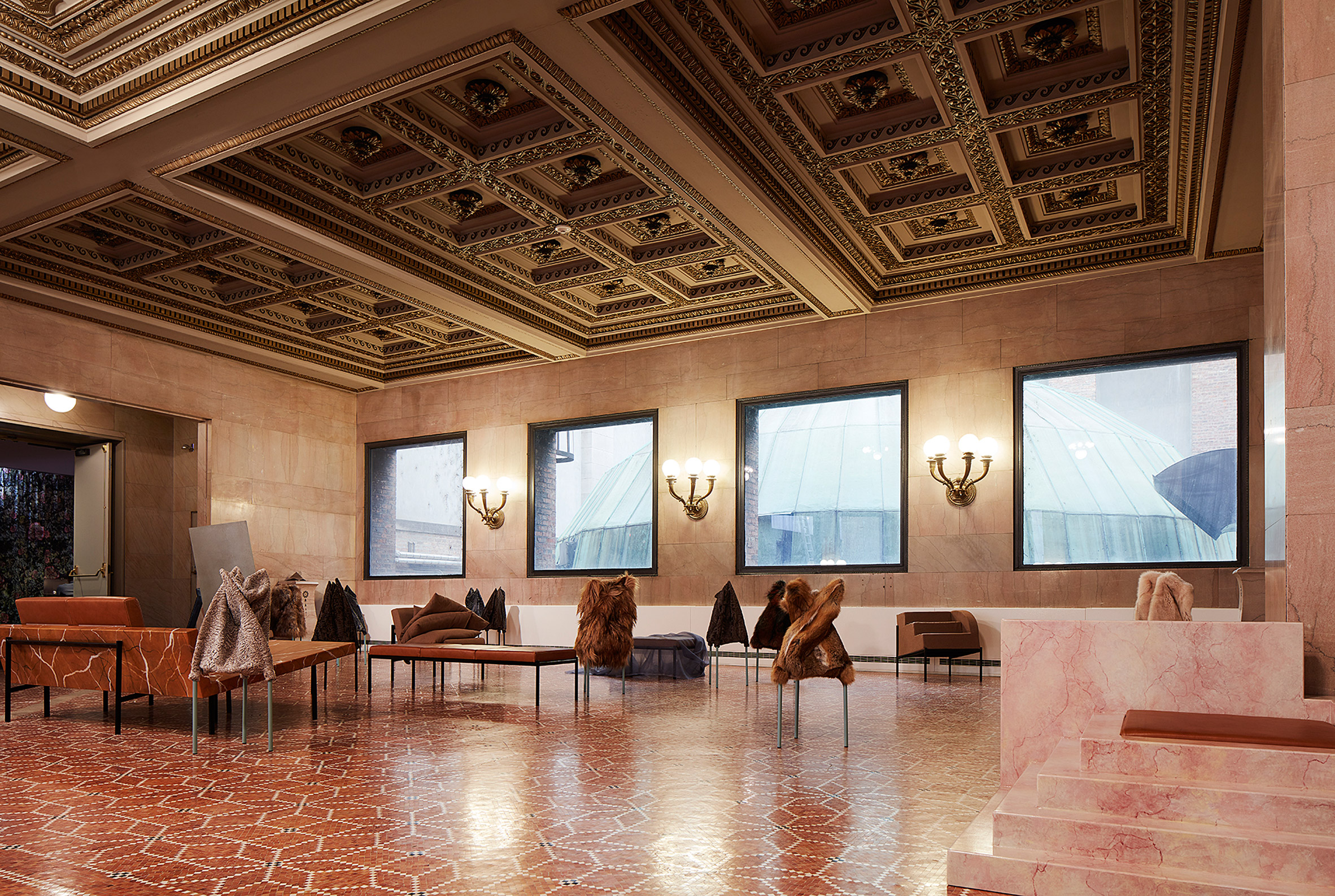 Artek and Bless present fur-covered and marble furniture at Chicago Architecture Biennial