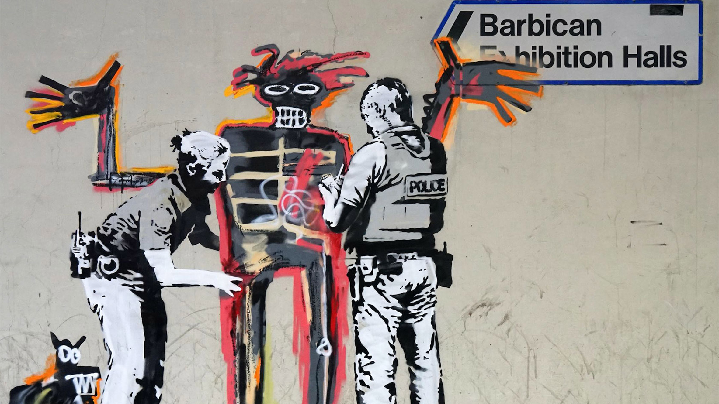 Banksy artworks appear on barbican walls ahead of basquiat exhibition
