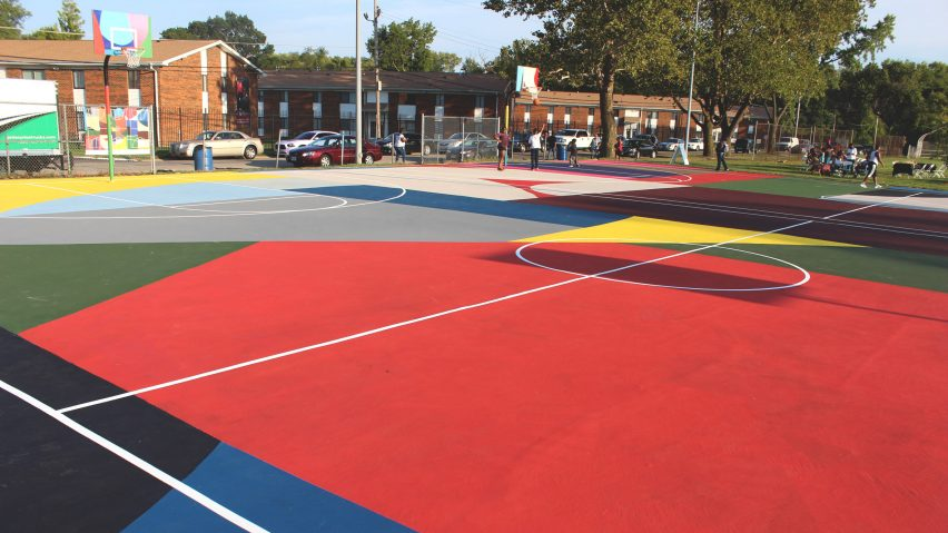 Kinloch Park Basketball Courts Mural by William LaChance