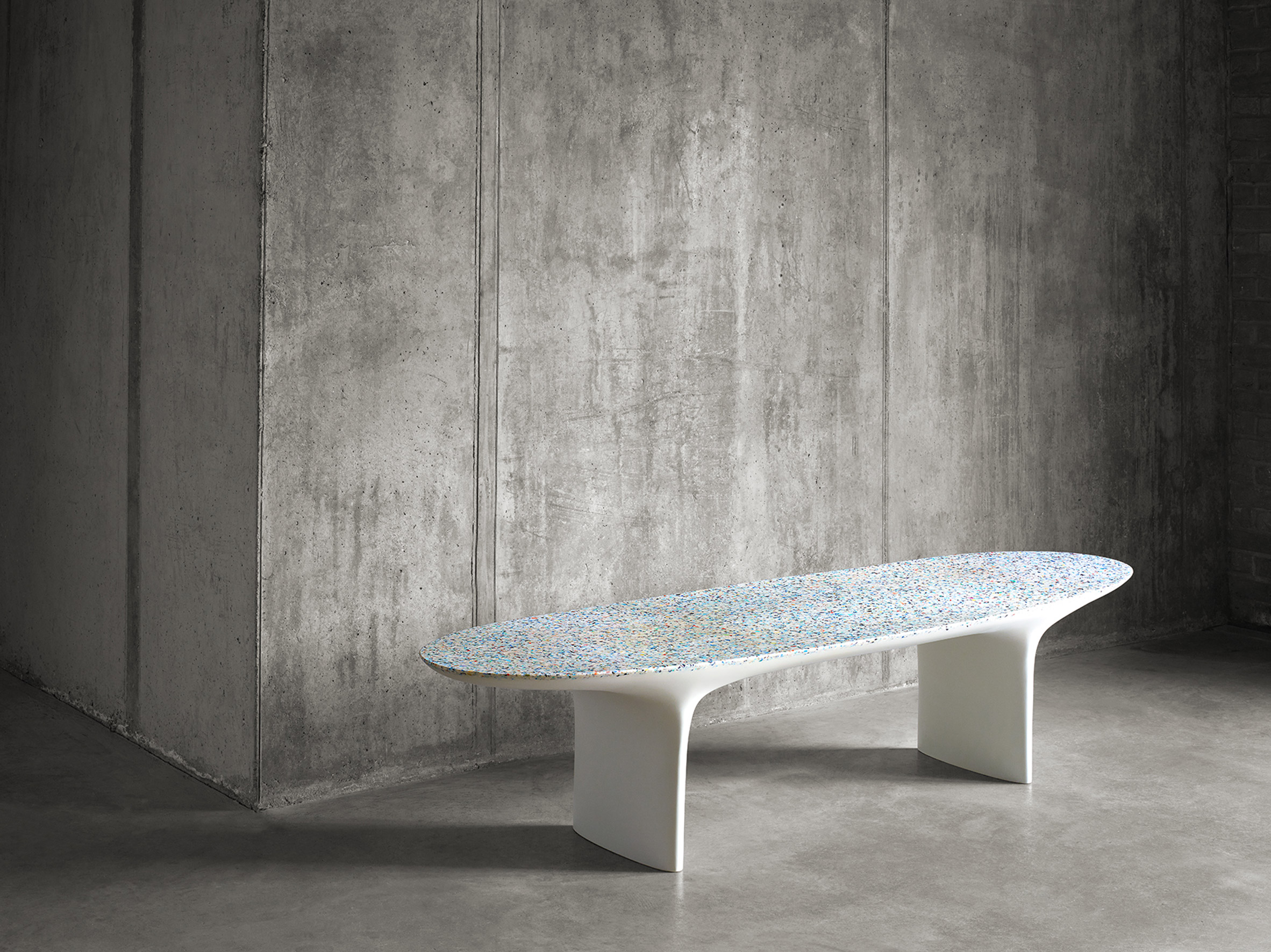 Brodie neill showcases his ocean terrazzo with waterfall for Waterfall installation
