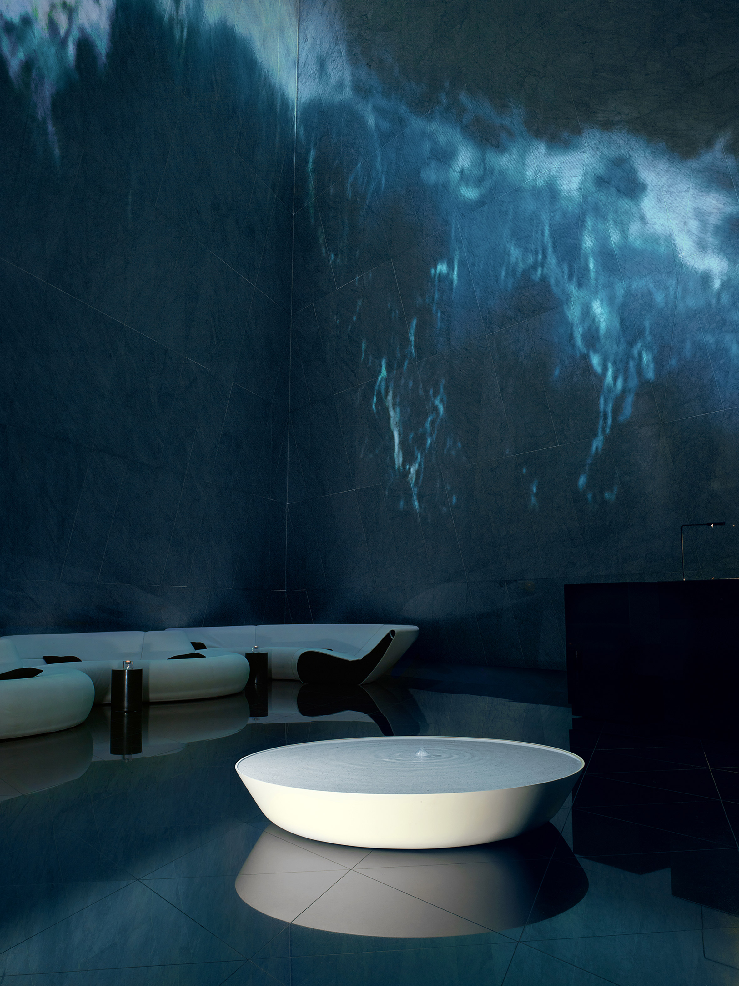 """Brodie Neill showcases his """"ocean terrazzo"""" with waterfall installation"""