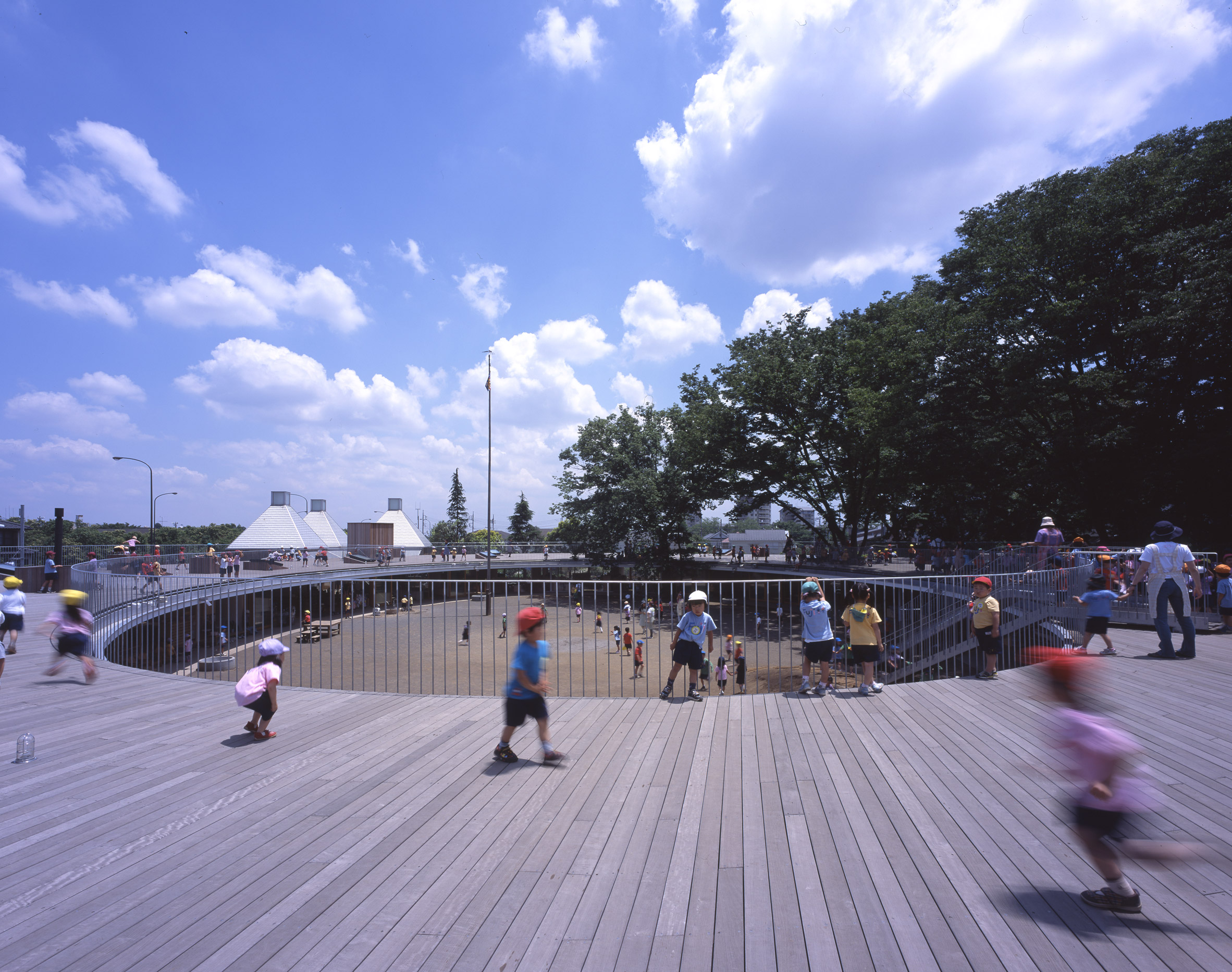 Tokyo kindergarten by Tezuka Architects lets children run free on the roof