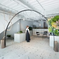 Minimal Japanese flower shop by Sides Core features a curved black climbing frame for plants