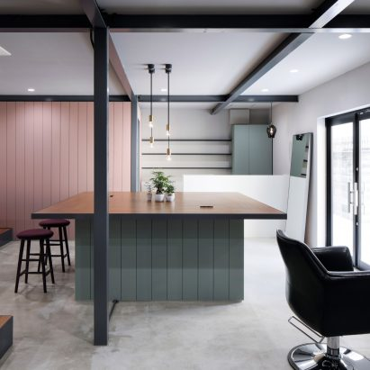 Pastel Colours And Subtle Grids Break Up Open Plan Hair Salon In Osaka.  Soft Hues And Dark Framework Decorate ...