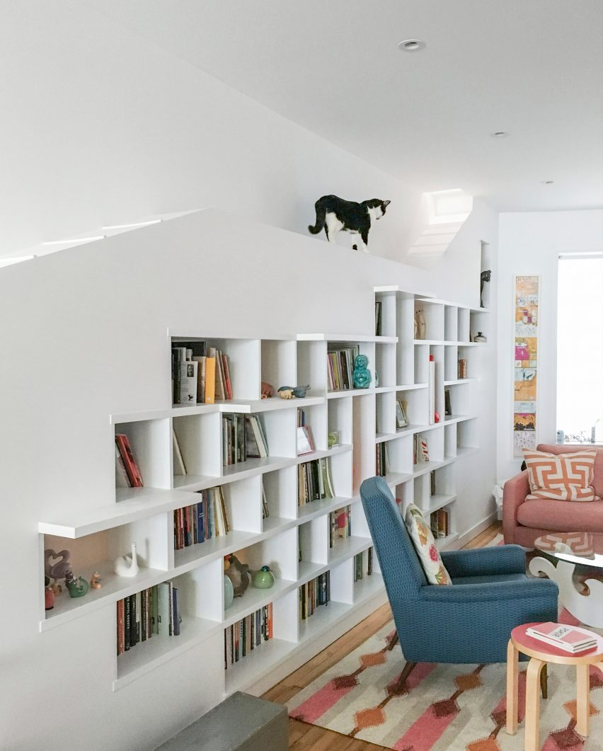 Bfdo architects creates hiding places for cats in brooklyn row house house for booklovers and cats by bfdo architects amipublicfo Image collections