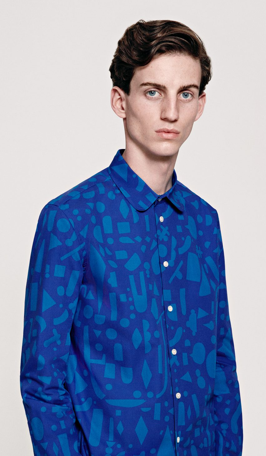 for the inaugural collection items hayn has applied his playful graphic style to prints and embroidery u decorating shirts with geometric shapes