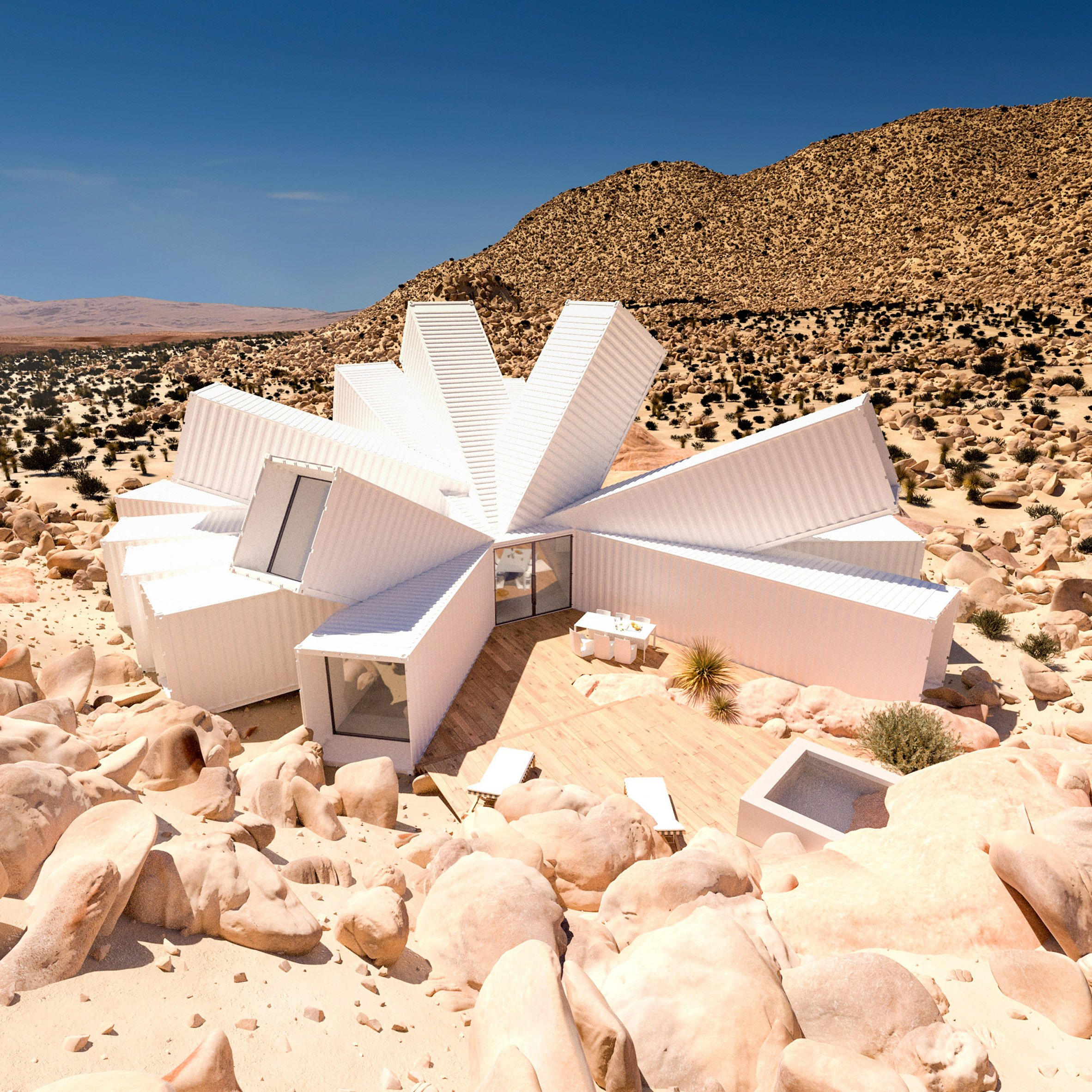 Splayed shipping containers form Joshua Tree