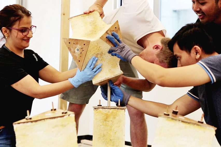Engineers Dirk Hebel and Philippe Block use fungi to build self-supporting structures