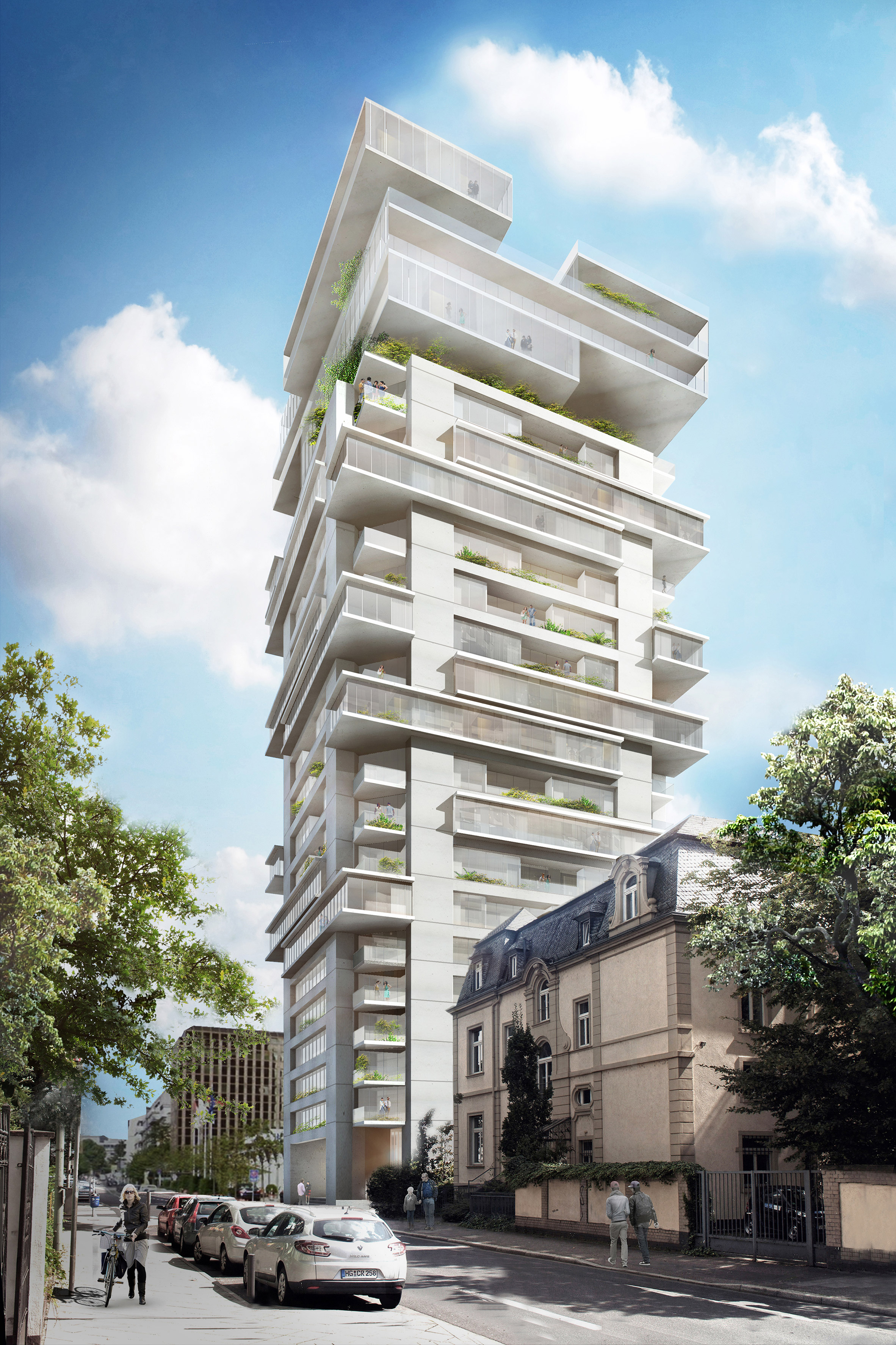 Ole Scheeren plans to radically transform Frankfurt office block into Jenga-like apartment tower