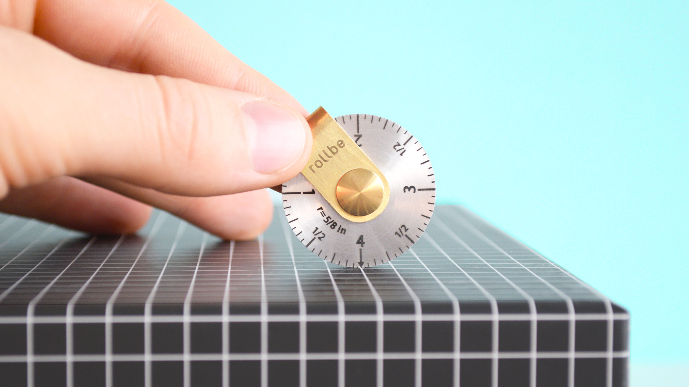 Coin-sized Rollbe measuring wheel can be kept in a purse or pocket