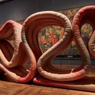 Ross Lovegrove installs 21-metre-long fabric snake in V&A tapestry room