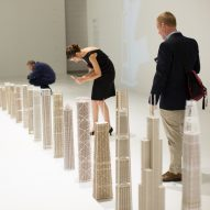 SOM exhibits architecture models with stripped-away skins to reveal engineering beneath