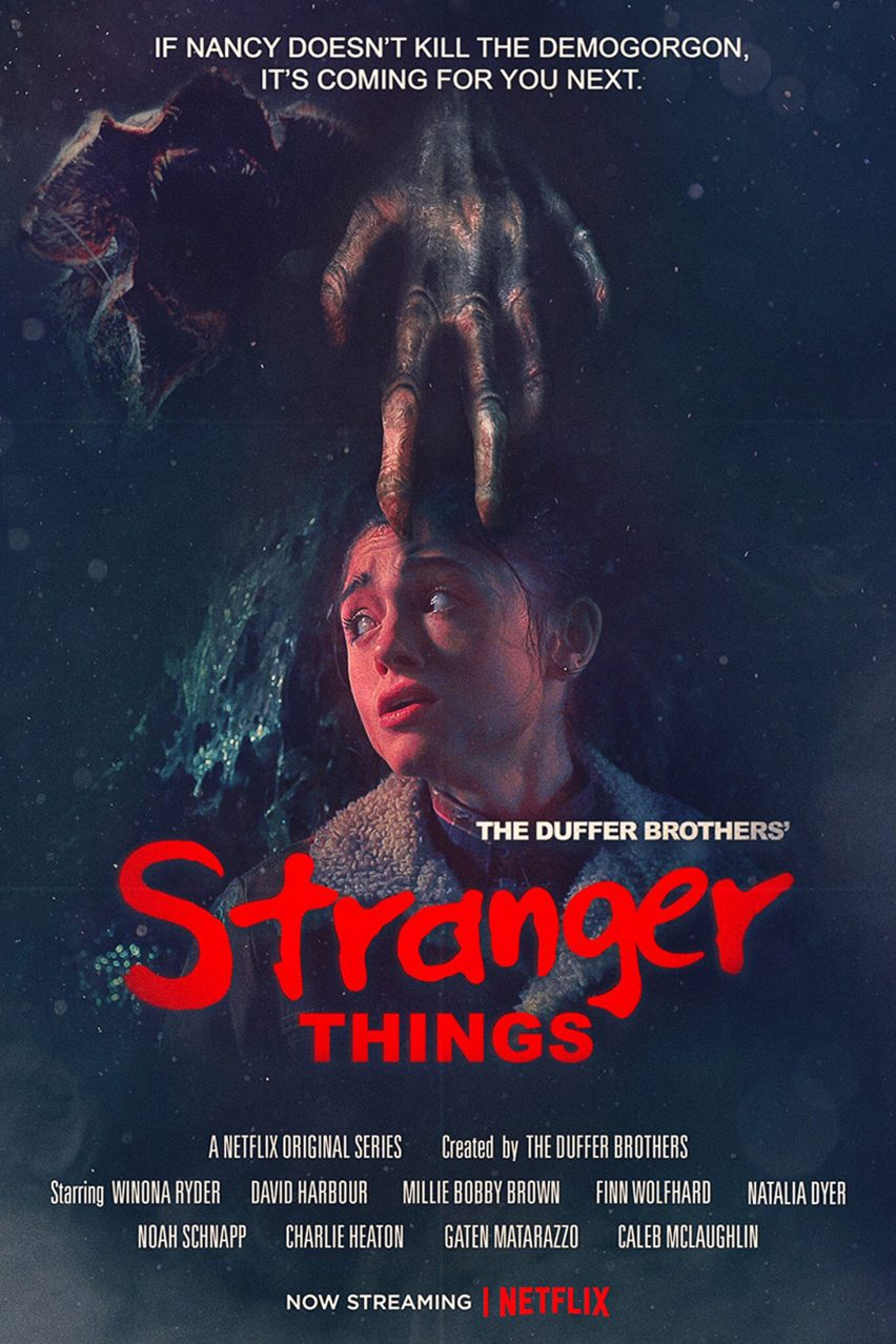 Stranger Things season two posters designed in the style of 80s sci fi films.