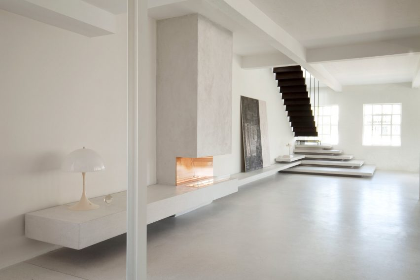 smoked oak and terrazzo steps feature in copenhagen apartment. Black Bedroom Furniture Sets. Home Design Ideas