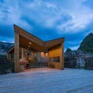Tourist centre perches above limestone canyon in Guizhou Province