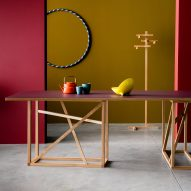 Studiomama designs versatile wooden trestle that supports colourful tabletops