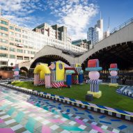 Camille Walala installs inflatable castle decorated with trademark patterns in London