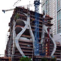 Cranes at Zaha Hadid's 1000 Museum in Miami