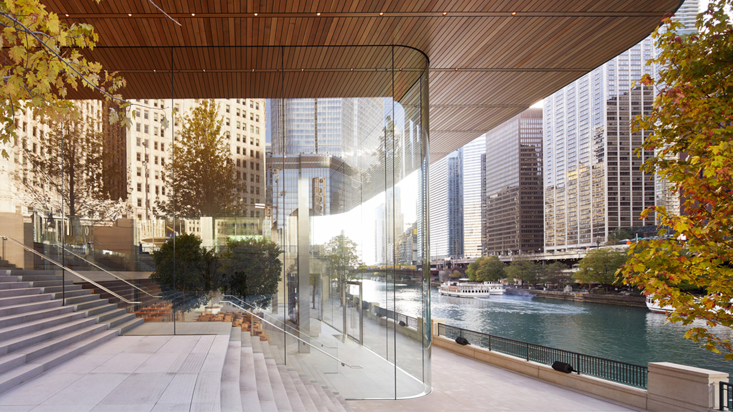 House design with shop - Macbook Shaped Roof Tops Foster Partners Glazed Apple Store In Chicago
