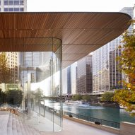 Macbook-shaped roof tops Foster + Partners' glazed Apple Store in Chicago
