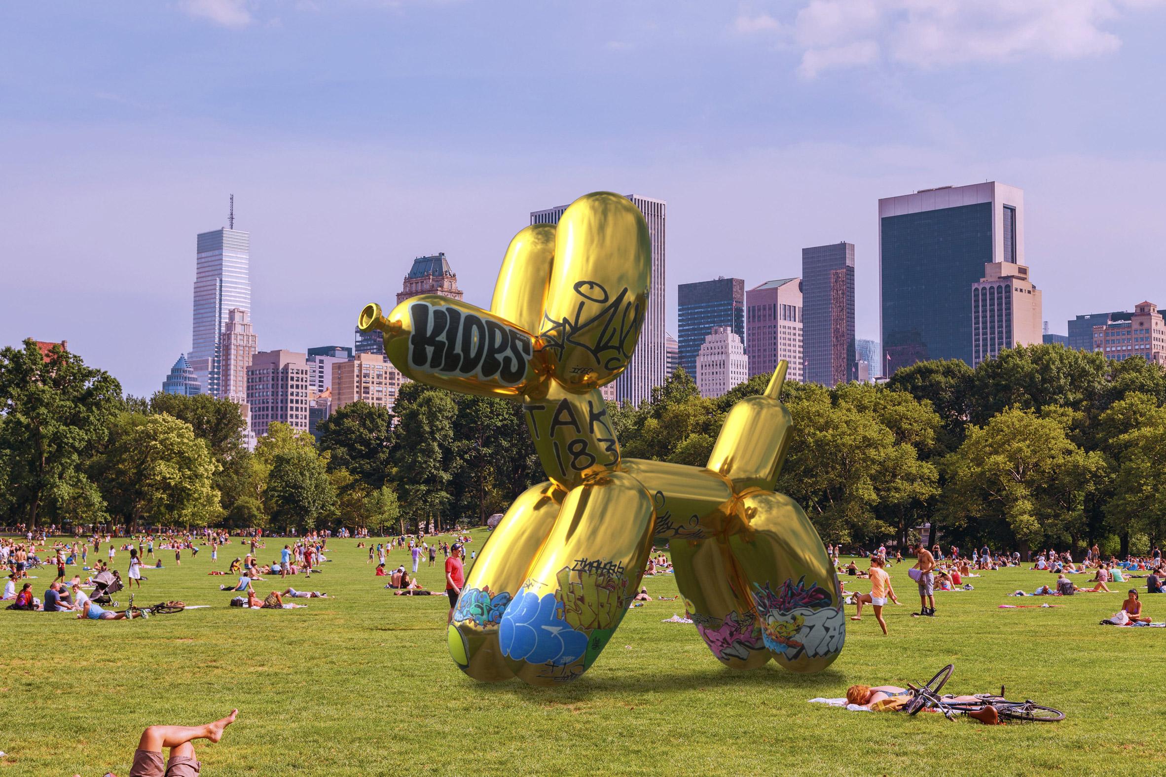 Sebastian Errazuriz vandalises augmented-reality version of Jeff Koons' Balloon Dog sculpture
