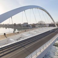 Richard Meier's Cittadella Bridge separates traffic and pedestrians as they cross an Italian river