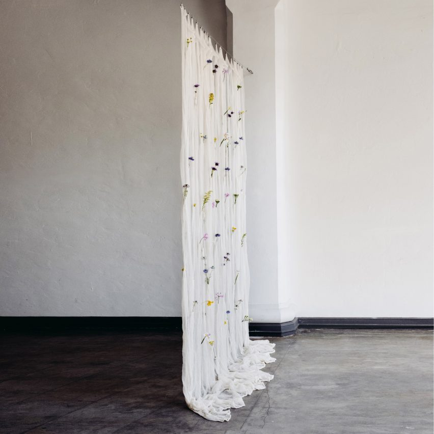 Draped Flowers Curtain by Umé Studio
