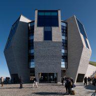Mario Botta pairs stone with Jansen steel frames to create striped facade for Swiss mountain restaurant