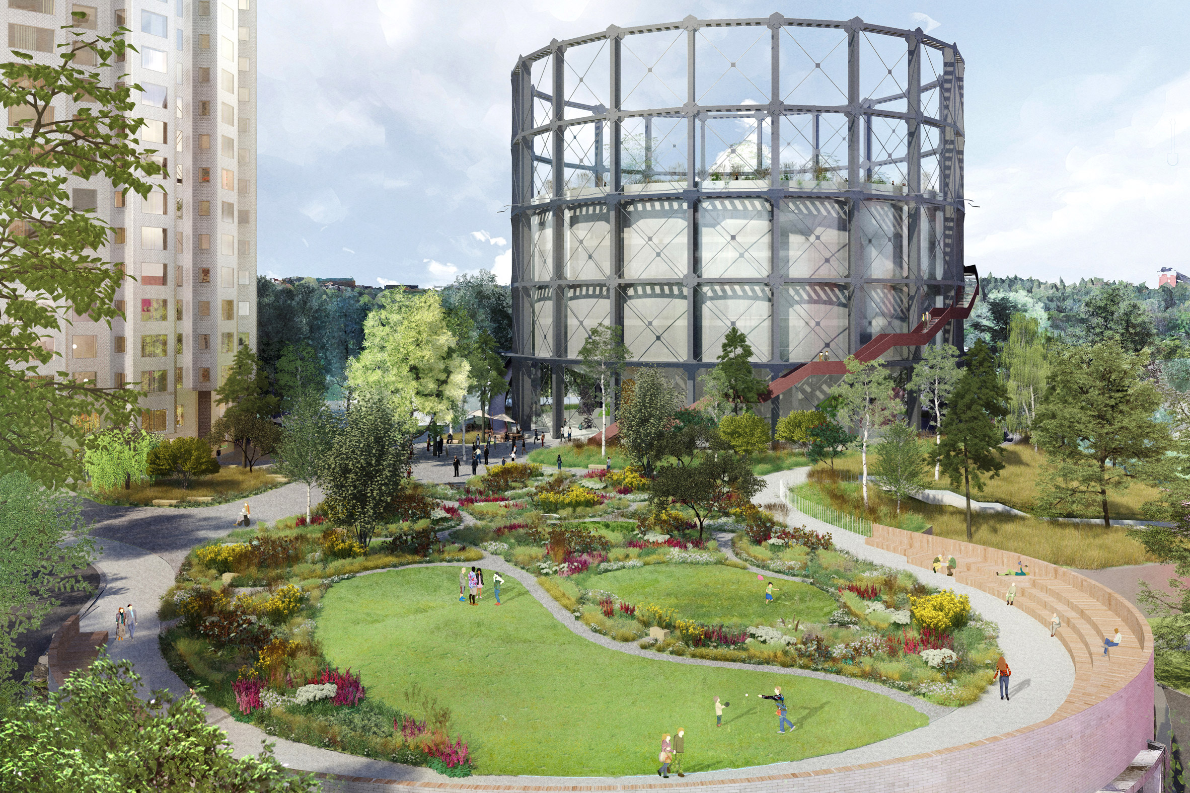 Herzog & de Meuron reveals plans for skyscraper and exhibition hall at Stockholm gasworks