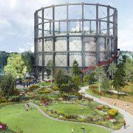 Herzog & de Meuron reveals plans for tower set in landscaped gardens at Stockholm gasworks