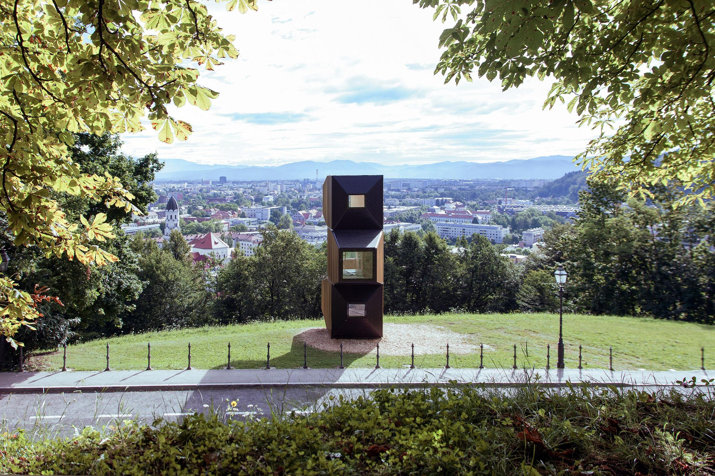 OFIS Arhitekti uses modular Living Units to create pop-up library overlooking Ljubljana