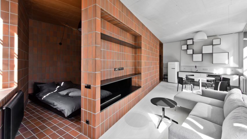 Agrob Buchtal Goldline tiles in Bazillion apartment by YCL Studio