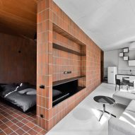 Terracotta-toned tiles divide Vilnius apartment into two contrasting halves