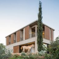 Slatted shades keep house by the Sea of Galilee cool during hot summer days