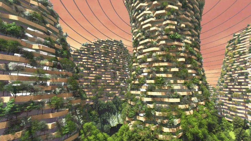 "Stefano Boeri imagines dome-covered Mars colony with ""vertical forests"""