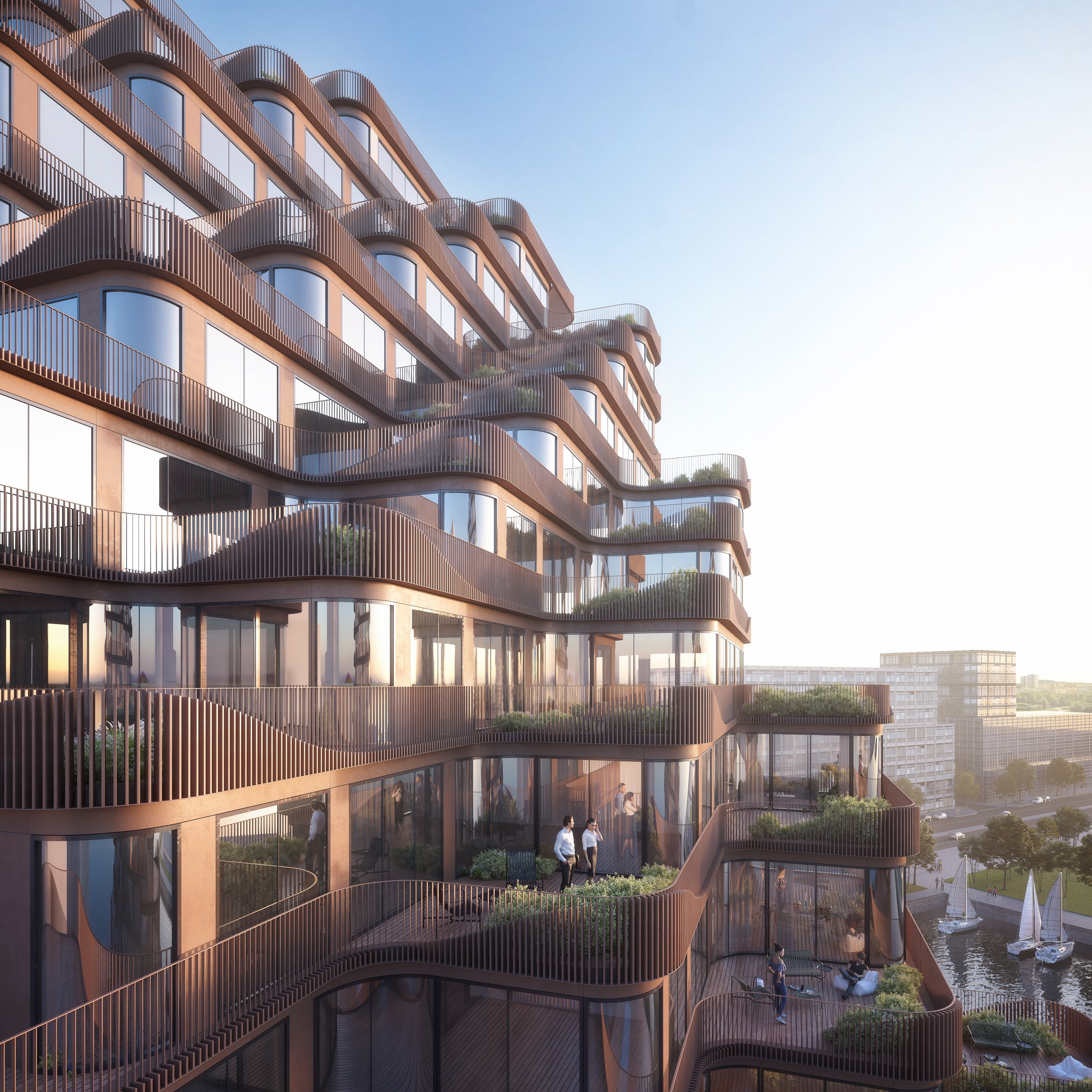 Undulating balconies to wrap 3xns condos on toronto waterfront