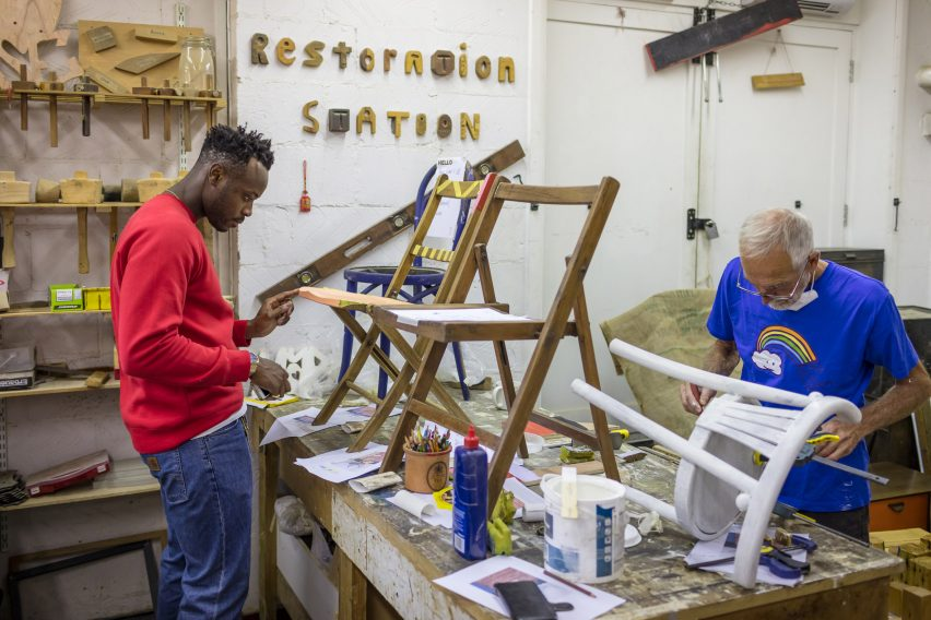 Yinka Ilori creates chairs in Restoration Station workshops
