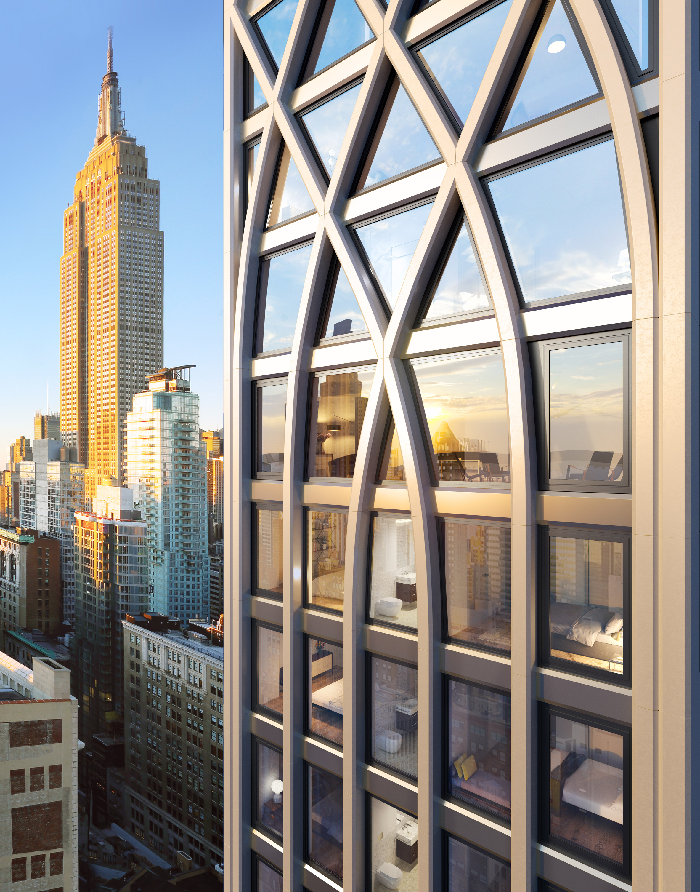 Morris Adjmi designs skyscraper with lancet windows for New York City