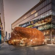Fahed + Architects create bulbous copper pavilion from old bedsprings at Dubai Design Week