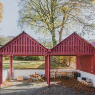 Rural Office for Architecture adds row of red gabled sheds to rural Welsh property