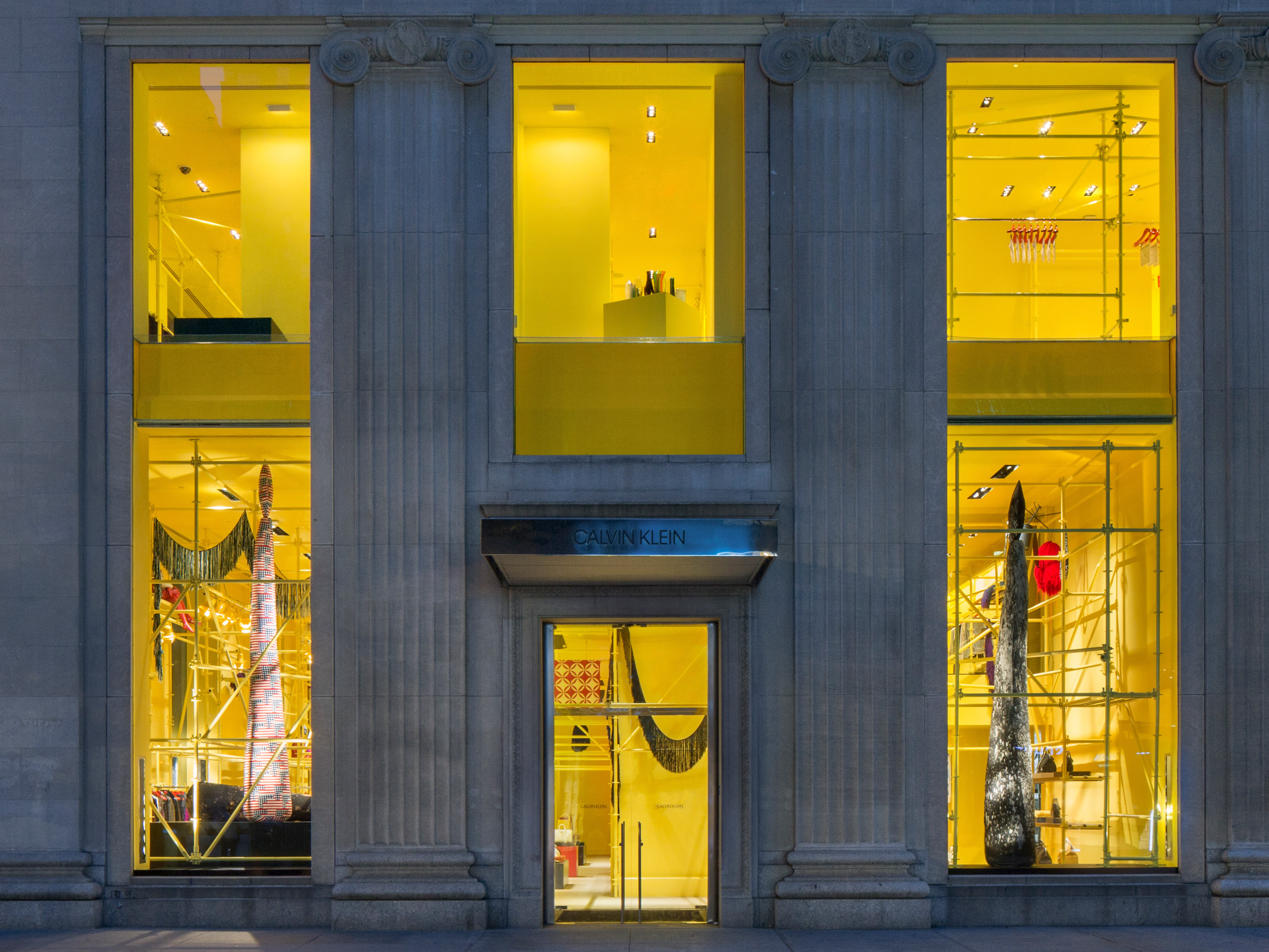 Raf Simons and Sterling Ruby transform Calvin Klein store with yellow scaffolding