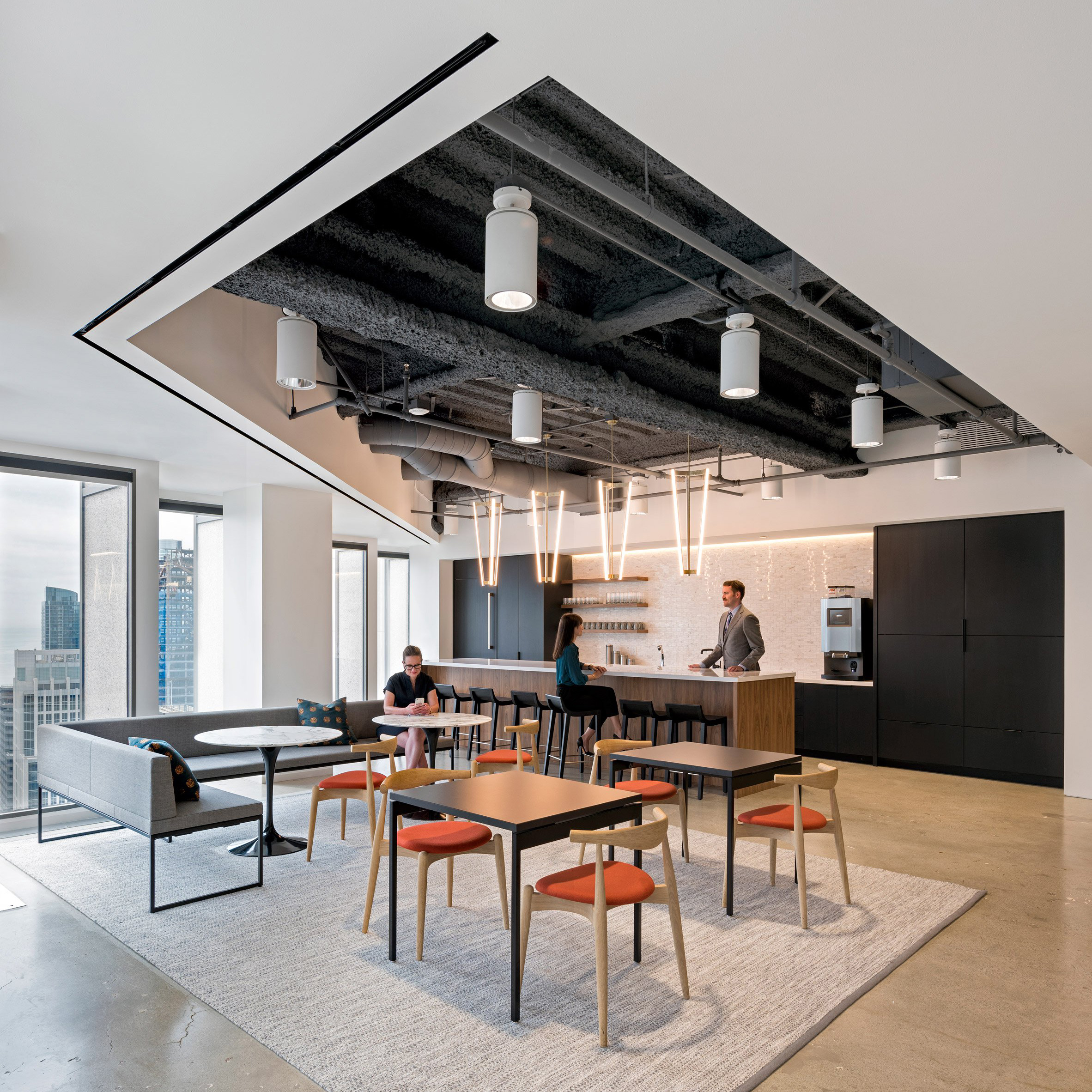 Studio o a teams traditional and contemporary elements for san francisco finance office