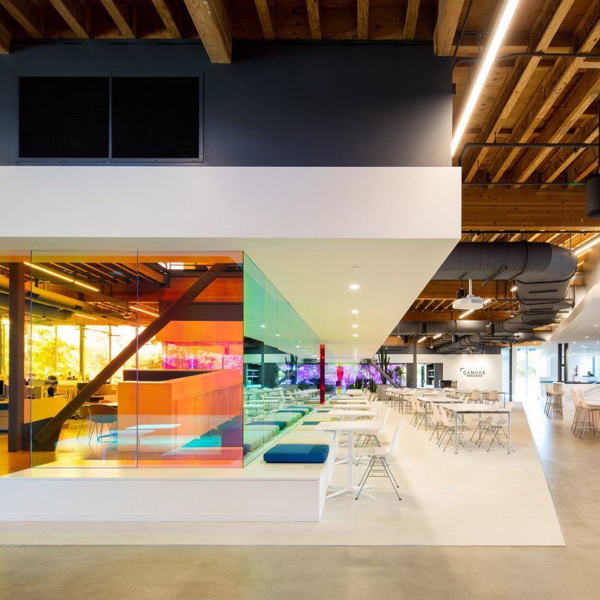 A i uses coloured glass walls to define workspaces for la for Interior design agency los angeles
