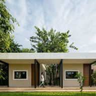 Steel colonnades create sheltered outdoor spaces at Mexican hacienda