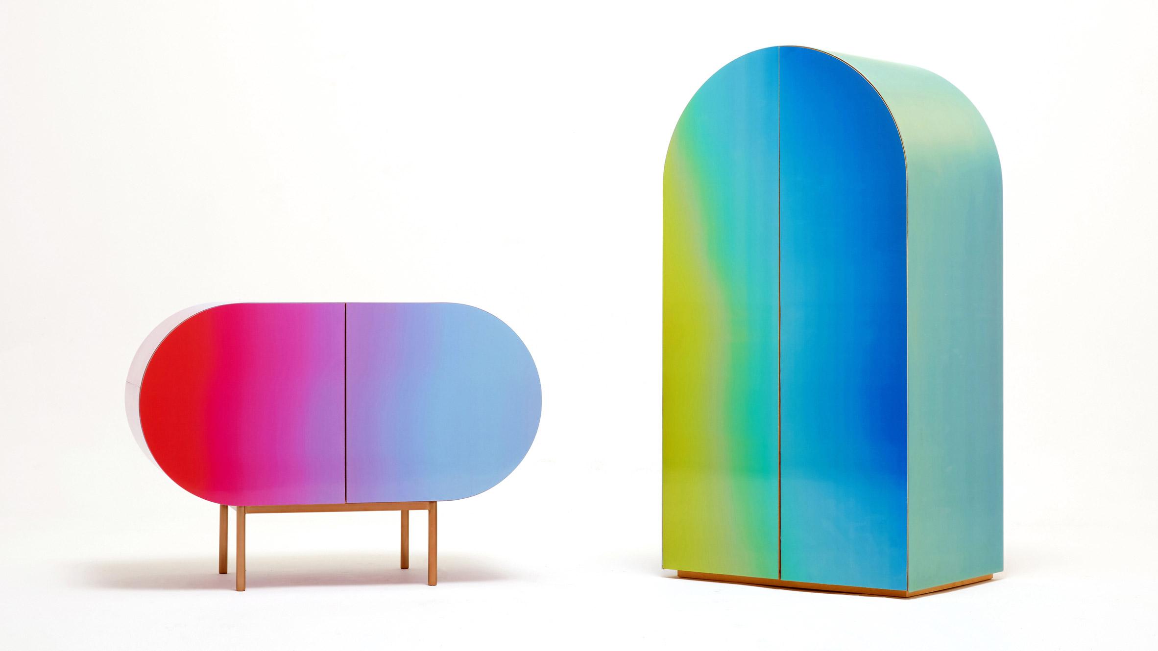Orijeenu0027s Rainbow Hued Furniture Uses Lenticular Surfaces To Change Colour