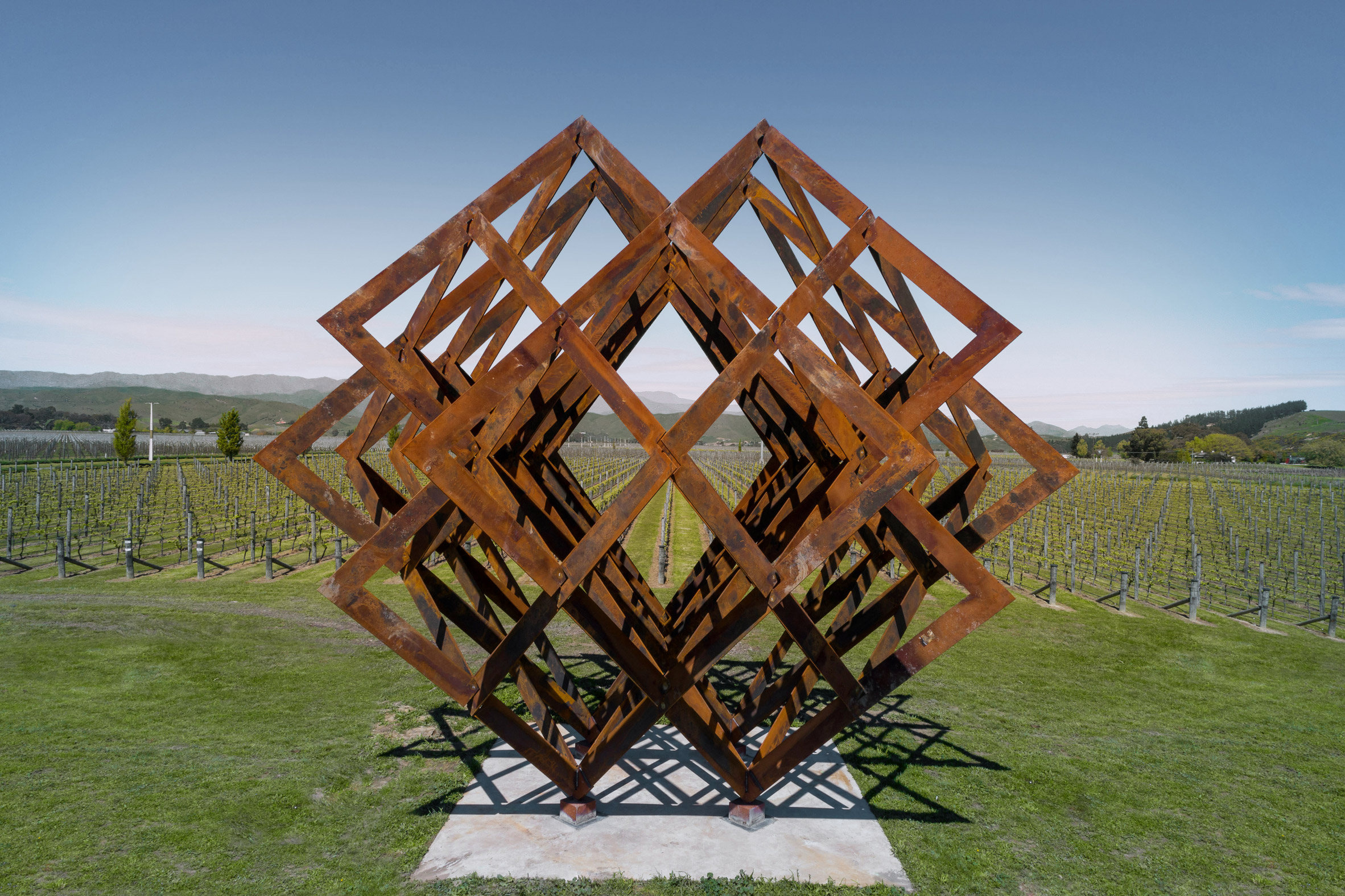 Studio Dror installs huge wine rack-shaped sculpture in New Zealand vineyard