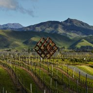 Studio Dror installs huge wine-rack-shaped sculpture in New Zealand vineyard