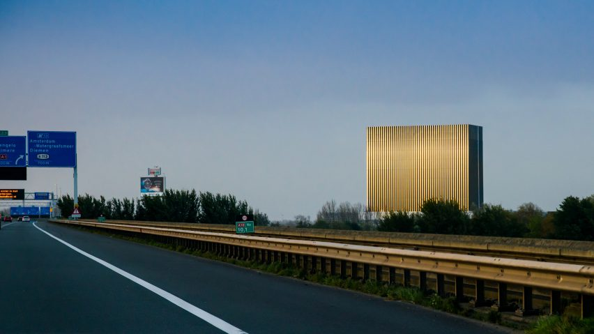 Benthem Crouwel adds stripy tower surrounded by a moat to Amsterdam data centre